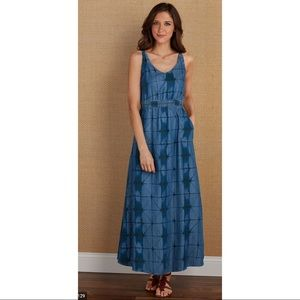 Soft Surroundings Chambray Tie Dye Maxi Dress Blue